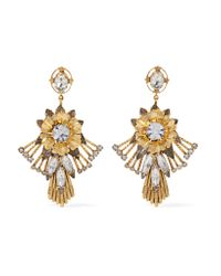 Elizabeth Cole | Metallic Alisanne 24-karat Gold-plated Crystal Earrings | Lyst