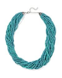 Kenneth Jay Lane - Blue Silver-tone Beaded Necklace - Lyst