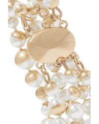 Kenneth Jay Lane | White Gold-tone Faux Pearl Bracelet | Lyst