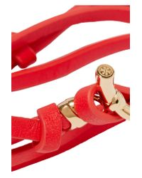 Tory Burch - Red Leather And Gold-tone Wrap Bracelet - Lyst