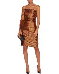 Lanvin - Brown Ruched Lamé Mini Dress - Lyst