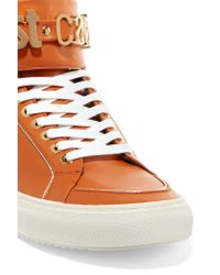 Just Cavalli   Orange Leather High-top Sneakers   Lyst