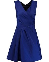 Marc By Marc Jacobs - Blue Wrap-effect Pleated Matte-satin Mini Dress - Lyst