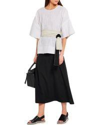Lemaire - Black Wool-crepe Skirt - Lyst