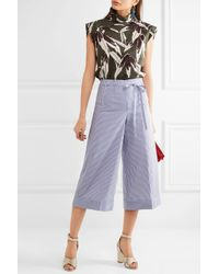 J.Crew - Blue Banada Striped Stretch-cotton Wide-leg Pants - Lyst