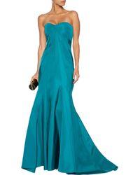 Zac Posen - Blue Strapless Flared Silk-faille Gown - Lyst