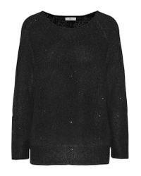 Joie | Black Emari Sequin-embellished Stretch-knit Sweater | Lyst