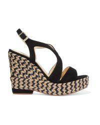 Paloma Barceló | Black Clarisse Cutout Nubuck Espadrille Wedge Sandals | Lyst