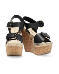Paloma Barceló - Black Nicole Leather Wedge Sandals - Lyst