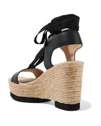Paloma Barceló - Black Carla Lace-up Leather Wedge Sandals - Lyst