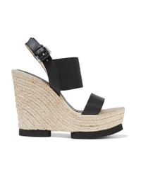 Paloma Barceló - Black Claudia Leather And Stretch-knit Wedge Sandals - Lyst