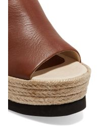 Paloma Barceló - Brown Conchita Leather Espadrille Wedge Mules - Lyst