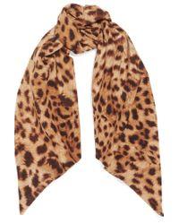 Roberto Cavalli - Brown Leopard-print Silk Crepe De Chine Scarf - Lyst