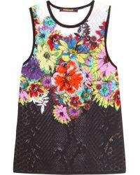 Roberto Cavalli - Multicolor Pointelle-knit Cotton-blend Top - Lyst