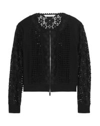 Diane von Furstenberg - Black Jessica Paneled Crocheted Lace And Jersey Jacket - Lyst