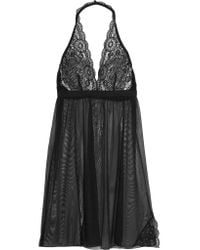 Cosabella | Black Chance Lace-trimmed Mesh Chemise | Lyst