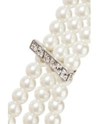 Kenneth Jay Lane - White Silver-plated, Faux Pearl And Crystal Choker - Lyst