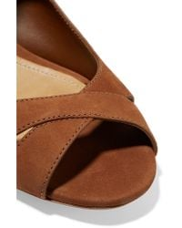 Schutz Brown Lace-up Nubuck Sandals