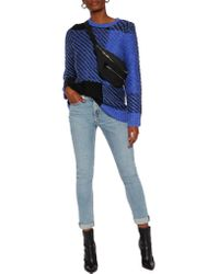 Rag & Bone | Blue Jessa Two-tone Cotton And Wool-blend Sweater | Lyst
