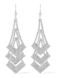 Kenneth Jay Lane   Metallic Silver-tone Crystal Earrings   Lyst