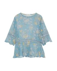 Zimmermann - Blue Lace-trimmed Printed Silk-georgette Blouse - Lyst