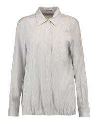 Jil Sander | White Virna Pinstriped Silk Shirt | Lyst