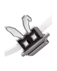 McQ - White Electro Bunny Textured-leather Wrap Bracelet - Lyst