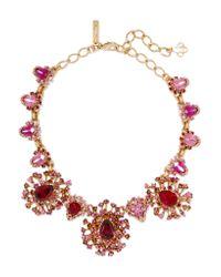 Oscar de la Renta - Pink Tiered Crystal Necklace - Lyst