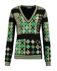 Emilio Pucci | Green Metallic Jacquard-knit Sweater | Lyst