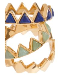 Tory Burch - Metallic Puzzle Set Of Three Gold-tone And Enamel Rings - Lyst