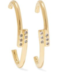 Elizabeth and James - Metallic Leda Gold-plated Crystal Earrings - Lyst