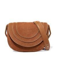 Diane von Furstenberg - Brown Leather-trimmed Nubuck Shoulder Bag - Lyst