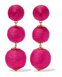 Kenneth Jay Lane | Pink Gold-tone Woven Earrings | Lyst