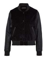 Rag & Bone - Black Leather-paneled Velvet Bomber Jacket - Lyst