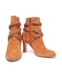 Schutz - Brown Chain-embellished Suede Ankle Boots - Lyst