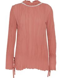 Nina Ricci - Pink Woman Shell-embellished Plissé Silk-chiffon Blouse Antique Rose - Lyst