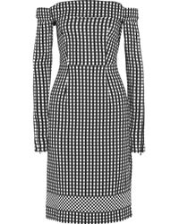 Preen By Thornton Bregazzi Black Olivia Off-the-shoulder Gingham Crepe Dress