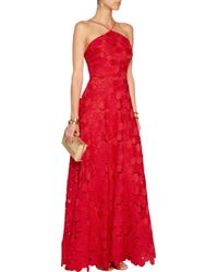 Badgley Mischka - Red Guipure Lace Gown - Lyst