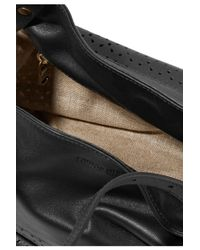 Tomas Maier - Black Paneled Smooth And Laser-cut Leather Tote - Lyst