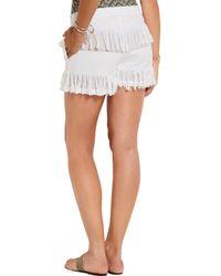 Prism - White Fringed Cotton-gauze Shorts - Lyst