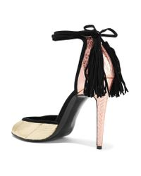 Pierre Hardy | Color-block Suede-trimmed Metallic Snake Sandals | Lyst