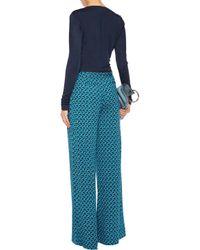 Diane von Furstenberg - Blue Lala Wrap-effect Crepe Bodysuit - Lyst
