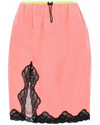 Alexander Wang - Lace-trimmed Shell Skirt Bright Pink - Lyst
