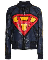Valentino - Blue Printed Leather Jacket - Lyst