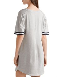 Splendid - Gray Varsity Active Striped Stretch Cotton And Modal-blend Jersey Mini Dress - Lyst