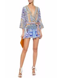 Camilla - Blue Wrap-effect Crystal-embellished Printed Silk Playsuit - Lyst