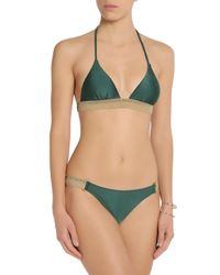 ViX - Green Woven-trimmed Triangle Bikini Top - Lyst