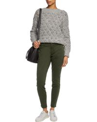 J Brand - Zion Buttoned Stretch-cotton Twill Skinny Pants Army Green Size 23 - Lyst