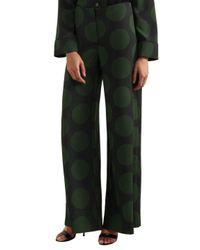 McQ Alexander McQueen - Polka-dot Crepe Wide-leg Pants Forest Green - Lyst