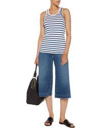 Petit Bateau - Blue Striped Perforated Cotton-jersey Tank - Lyst